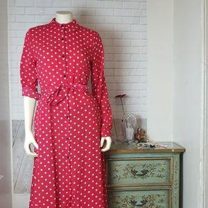 Dresses & Skirts - Red White Polka Dot Button Down Retro Dress Large